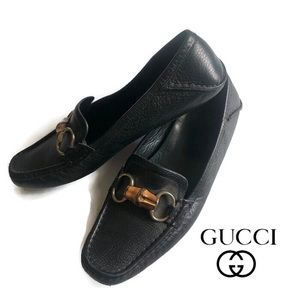 Gucci Men's Black Leather Slip On Loafers Size 9